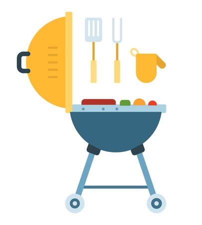 Bbq grill with fork, spatula and mitten vector icon flat isolated