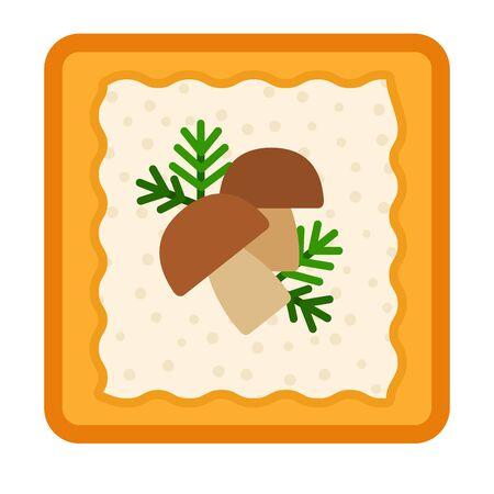 Panino con formaggio, aneto e funghi icona vettore piatto isolato