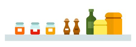 Spices in jars on a shelf vector flat isolated