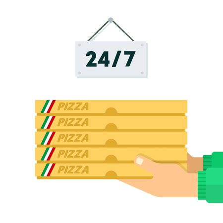 Pizza delivery service twenty-four hours vector flat material design isolated on white