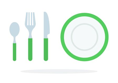 Tablespoons teaspoon fork, knife, plate with green piping vector flat material design isolated on white