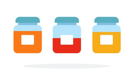Jars with spices vector flat material design isolated on white Ilustracja