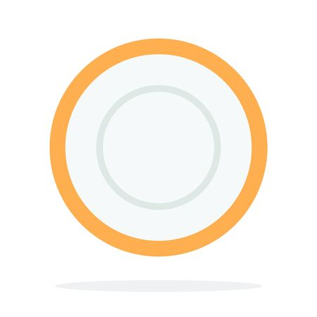 Tea saucer with orange piping vector flat isolated Иллюстрация