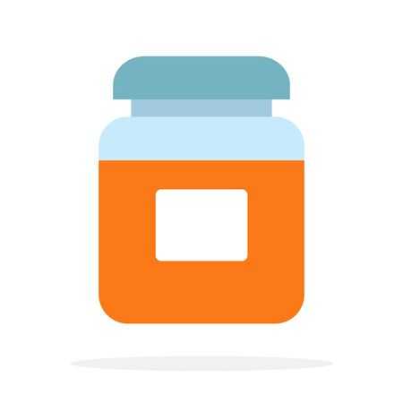 Glass container with curry spices vector flat material design isolated on white