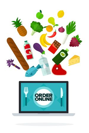 Order online on screen computer vector flat isolated
