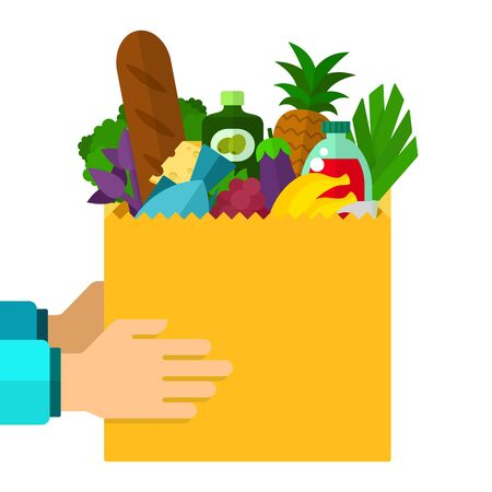 Package of food in human hands vector flat material design isolated on white Ilustrace