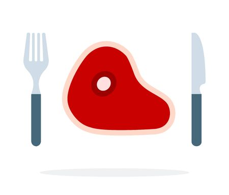 Raw meat on the bone with a fork and knife vector flat isolated