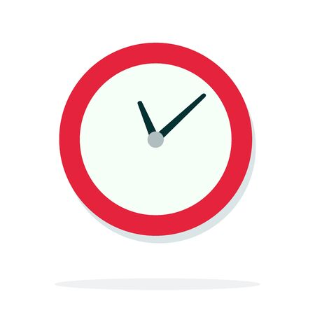 Round wall clock with red piping vector flat isolated Иллюстрация