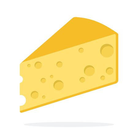 Triangular piece of cheese vector flat material design isolated on white