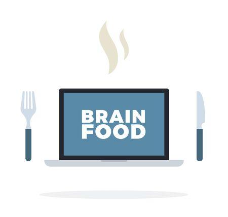 Brain food banner on screen laptop vector flat isolated Иллюстрация