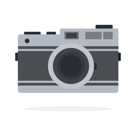 Mechanical camera vector flat material design isolated on white