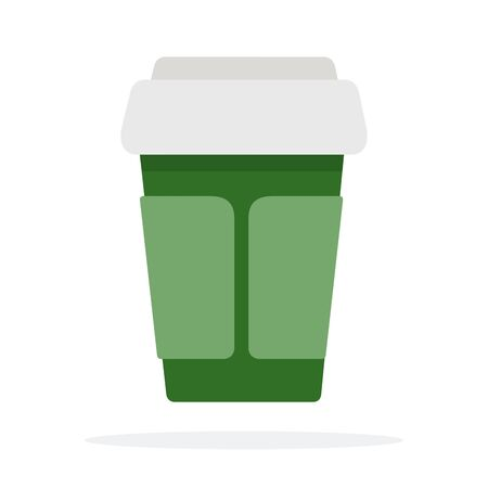Green ceramic coffee cup with a lid vector flat material design isolated on white