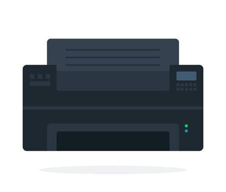 Black printer vector flat material design isolated on white  イラスト・ベクター素材