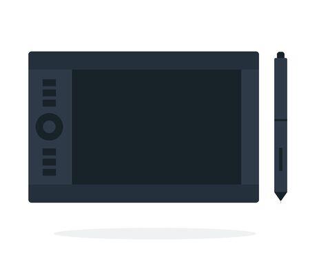 Tablet for graphic design vector flat material design isolated on white Ilustração