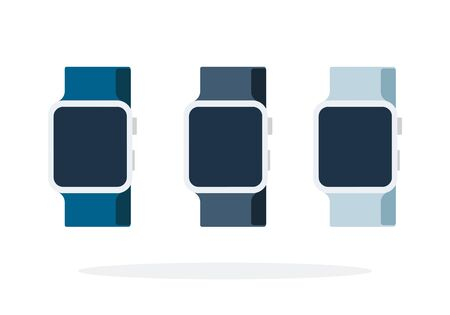 Three smart watch with colored straps vector flat material design isolated on white