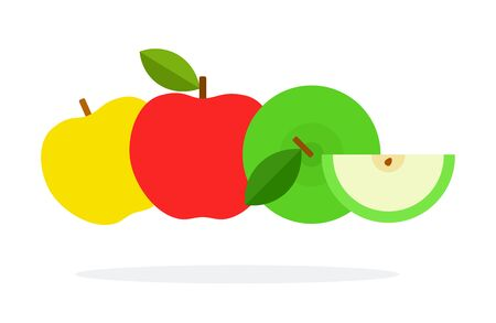 Red, yellow and green apple with a slice vector flat material design isolated on white