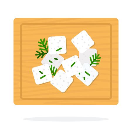Feta cheese with dill on a wooden board vector flat material design isolated on white