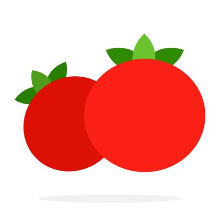Front view of red tomatoes vector flat material design isolated on white Иллюстрация