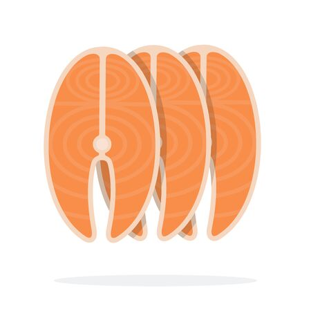 Part of uncooked salmon vector flat material design isolated on white