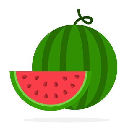 Watermelon and a slice of watermelon vector flat material design isolated on white Иллюстрация