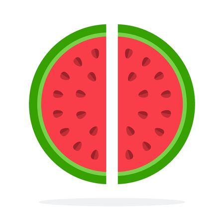 Two pieces of watermelon vector flat material design isolated on white