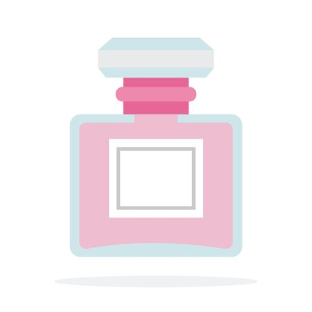 Pink perfume vector flat material design isolated object on white background. Illustration