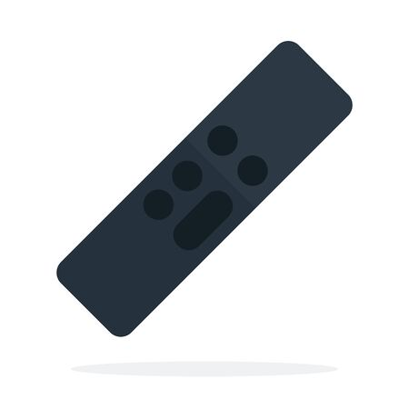 Black remote control vector flat material design isolated on white