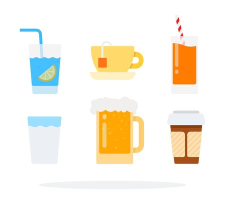 Tea, coffee and water vector flat material design object. Isolated illustration on white background.