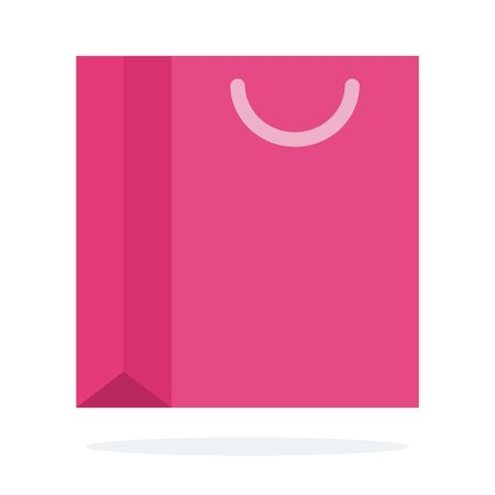 Pink gift bag vector flat material design isolated object on white background. Illustration