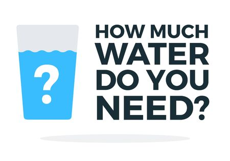 How much water a person needs vector flat material design object. Isolated illustration on white background.