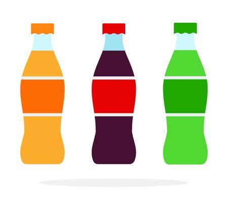 Orange soda green soda and brown soda bottles vector flat isolated Иллюстрация