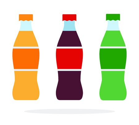 Orange soda green soda and brown soda bottles vector flat isolated Illustration