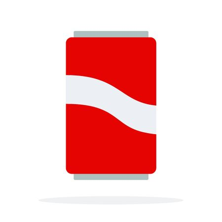 Fizzy water in a red tin vector flat material design isolated on white