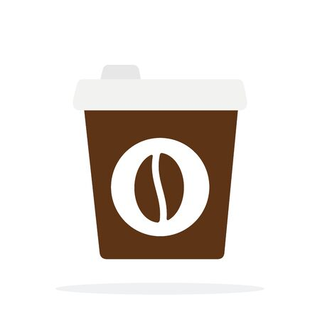 Brown disposable coffee cup vector flat material design isolated on white Иллюстрация