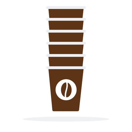 Set of disposable coffee cups vector flat material design isolated on white