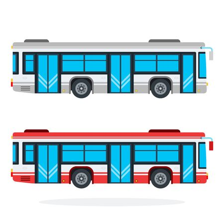 City bus vector flat material design isolated on white