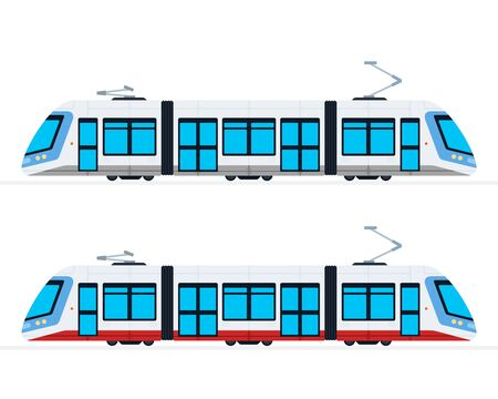 Municipal Electric Tram vector flat isolated Illustration