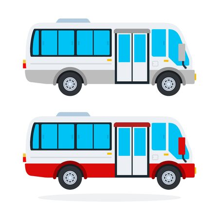 Urban Minibus vector flat material design isolated on white Иллюстрация