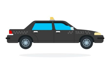 Black city taxi vector flat material design isolated on white