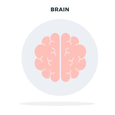Human brain in a gray circle vector flat isolated Illustration