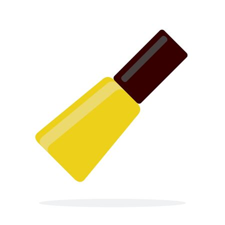 Yellow nail polish vector flat material design isolated object on white background.