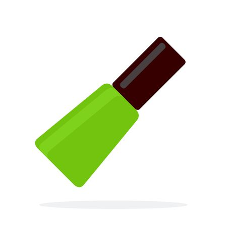 Green nail polish vector flat material design isolated object on white background. Иллюстрация