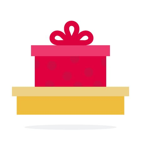 Gift boxes vector flat material design isolated object on white background. Иллюстрация