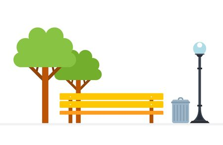 Place of rest in the park vector flat material design isolated object on white background.