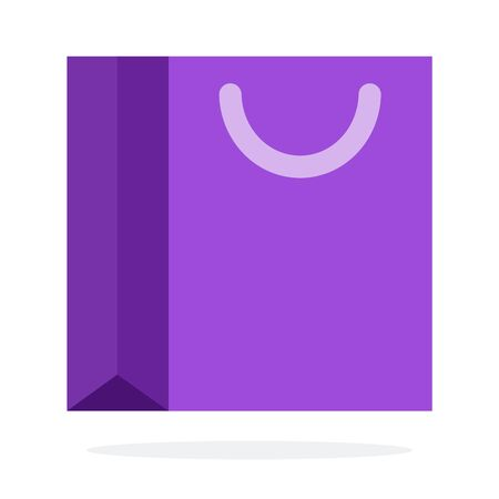 Purple gift bag vector flat material design isolated object on white background.