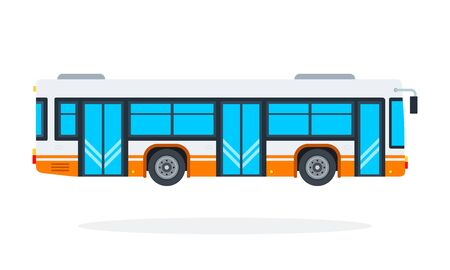Municipal bus vector flat material design isolated object on white background. Иллюстрация