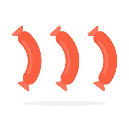 Three sausages on white vector flat isolated