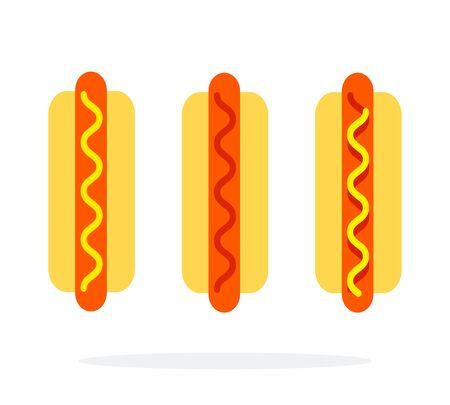 Hot dog with mustard hot dog with ketchup hot dog with mustard and ketchup vector flat isolated