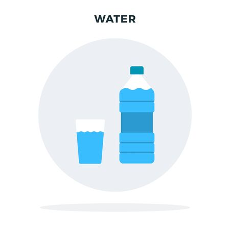 Bottle of water and a glass of water in a gray circle vector flat isolated Illustration