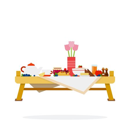 Table with desserts and tea vector flat material design isolated object on white background. Иллюстрация